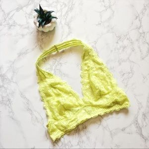 • Free People • NWOT Neon Yellow Lace Halter Bra